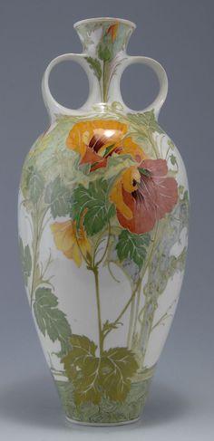 "Rozenburg, Den Haag, ""Eggshell"" Porcelain vase, painted by Schellink, Samuel."