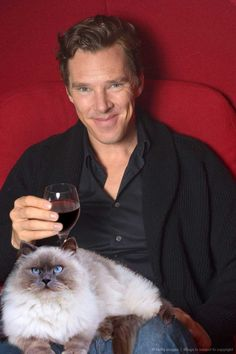 And some just appreciate a relaxing night in with a glass of wine. | 19 Very Important Photos Of Benedict Cumberbatch With Kittens