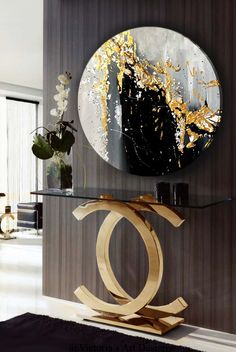 Oil Painting, Original Oil Painting Abstract Modern On Round Canvas Golden Leaf Large Wall Handmade Art by Victoria's Art Design Victoria Art, Round Canvas, Oil Painting Abstract, Oil Paintings, Abstract Art, Indian Paintings, Landscape Paintings, Original Paintings, Diy Resin Art