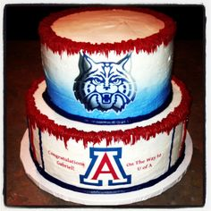 Arizona Wildcats cake   Share University Of Az, Birthday Cakes, Birthday Ideas, Cupcake Cakes, Cupcakes, Arizona Wildcats, Grad Parties, Style And Grace, Sports Teams