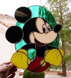 Stained Glass Mickey Mouse 398 by StainedGlassbyWalter on Etsy