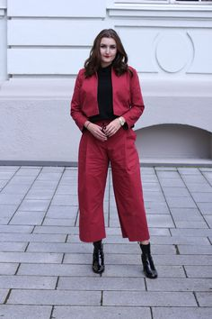 classic red suit / culotte / patent leather boots | lauracoeur.com