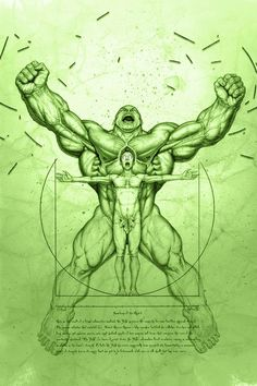 "Hulk inspired take on Michelangelo's ""Vitruvian Man"" done for fun-zies Fanart - not official Marvel art Pencil rendering tinted in Photoshop. Hulk, and Bruce Banner - © Marvel Comics Hulk Marvel, Marvel Comics, Marvel Comic Universe, Comics Universe, Marvel Art, Marvel Heroes, Hulk Avengers, Hulk Superhero, Captain Marvel"