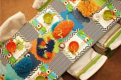 Monster party table decorations