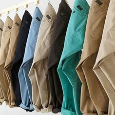 We need every NEUTRAL colored chino in existence! Visual Merchandising Fashion, Wicked Clothing, Mens Casual Dress Outfits, Clothing Store Displays, Jeans Store, Clothing Photography, Suit Fashion, Menswear, Diwali Dhamaka