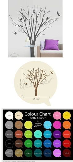 Winter Tree with Birds Wall Decal - Wall Sticker Outlet