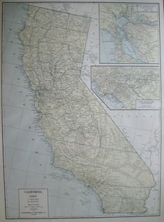 1947 Antique Rare Size CALIFORNIA Map State Map Poster Print