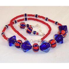 Lampwork Glass Necklace & Earrings Rackham's by LiteratePackrat, $57.00