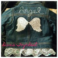 4f9ccafbbd9 Baby Angel Wings Upcycled Denim Jacket-Made to Order-Sizes 3mos-14/