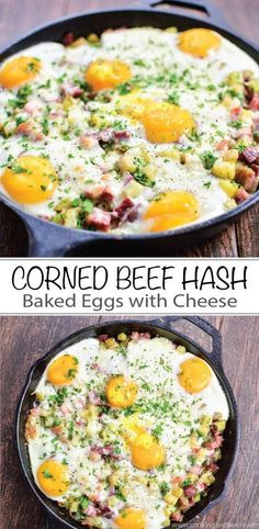 A St. Patrick's Day must-have: Corned Beef Hash Baked Eggs with Cheese recipe is perfect for breakfast or dinner! | http://www.cookingandbeer.com