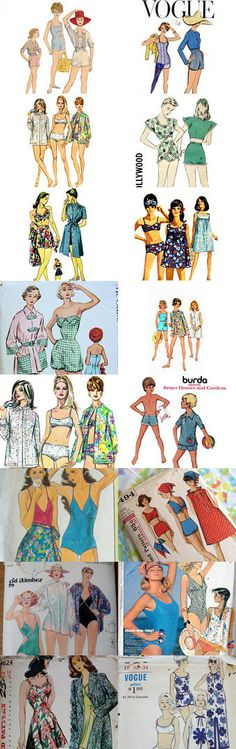 Swimsuit Loveliness by Fancywork on Etsy Vintage patterns from Pattern Patter Team   --Shared by WhatnotGems.Etsy.com  #vintagepattern #sewing #swimsuit