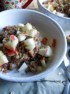 Apple Cinnamon Stovetop Oatmeal -- saute chopped apple, add boiling water and oatmeal. YUM
