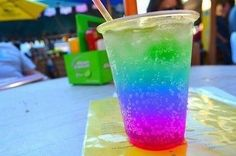 This drink looks cool Rainbow Drinks, Rainbow Smoothies, Slushies, Granita, Dont Forget To Smile, Don't Forget, Eat This, Lemon Cookies, Just Girly Things