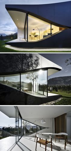 Large and curvaceous, the windows of this modern home add a unique design element and provide a stunning view of an apple orchard.