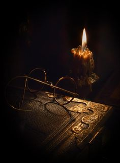 Book, Glasses, Candle