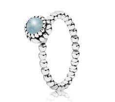 Pandora Silver & Aquamarine March Birthstone Ring 190854AQ - £40.00