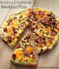 Sarah French, Easy Homemade Bacon Cheddar Breakfast Pizza. I think I want one of these when I get home.  I should have everything at my house to make one or two.