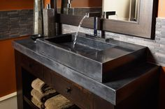 Black Stained Concrete Countertops