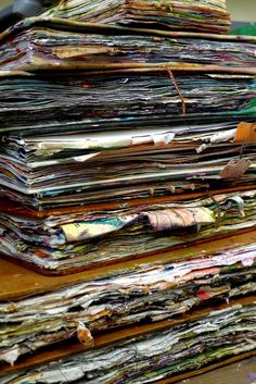 Journals - gorgeous! Some day I will have created such a collection of journals overflowing with artsy goodness!