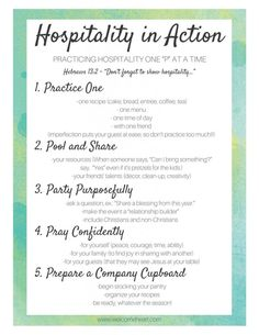 Hospitality in Action // free printable Turquoise Table, Christian Homemaking, Etiquette And Manners, Southern Hospitality, Welcome Gifts, Happy Moments, Quotes About God, Free Printables, Encouragement