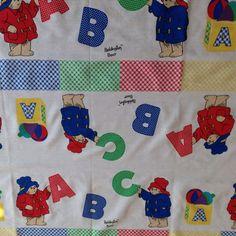 "Paddington Bear Fabric Material A B C 1 Yard 31"" x 36"" Primary Colors Polka Dot"