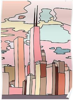 'Chicago sunset by Sasa Elebea' Art Print by Sabrina Brugmann - Millions of unique designs by independent artists. Find your thing. Cute Canvas Paintings, Small Canvas Art, Mini Canvas Art, Aesthetic Painting, Aesthetic Art, Posca Marker, Poster Prints, Art Prints, Posters