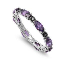 Brona's Vintage Marquise Cut Lavender CZ Marcasite Eternity Ring