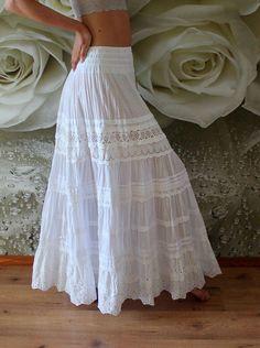 wedding skirt White tiered maxi skirt with lace.White tiered maxi skirt with lace. White Skirt Outfits, Maxi Skirt Outfits, White Maxi Skirts, Boho Skirts, Dress Skirt, Maxi Dresses, Long Maxi Skirts, Beach Maxi Skirt, Girl Skirts