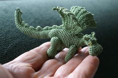 """Both of these dragons are made after Lucy Ravenscar's free pattern """"Slightly fierce but friendly dragon"""", available here:Lucyravenscar Crochet Creatures.  Although my dragons look as if the pattern was named """"… andnotso friendly dragon""""."""