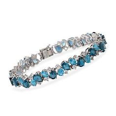 Ross-Simons - 26.40 ct. t.w. Blue and White Topaz Cluster Bracelet in Sterling Silver - #821097