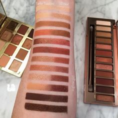 """(@u.glow.girl) on Instagram: """"The #urbandecayheat vs the #tartelettetoasted palette.... this picture has little to no editing…"""""""