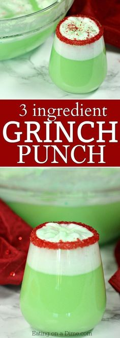 Easy Grinch Punch Recipe - Sherbet Punch - Christmas punch recipes - - The best Christmas punch recipes. You only need 3 ingredients for this Easy Grinch Punch Recipe. Everyone loves this simple Christmas Sherbet Punch recipe. Best Christmas Punch Recipe, Christmas Party Food, Christmas Brunch, Christmas Drinks, Holiday Drinks, Christmas Desserts, Christmas Baking, Fun Drinks, Yummy Drinks