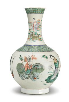 FAMILLE-VERTE 'EIGHT-IMMORTALS' BOTTLE VASE, 20TH CENTURY, the body and neck painted and glazed with the immortals and their various attributes, the base with an apocryphal Xianzong seal mark flanked by dragons. H 15 1/4  in.
