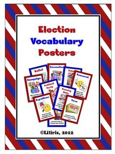 Election Vocabulary Posters - Perfect for your word wall.  Memory game cards also included. $