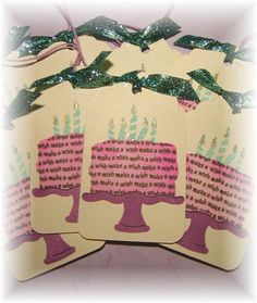 Make a Wish ~ Happy Birthday Cake Tags - set of 8