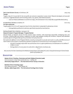 Elementary Teacher Resume Sample | Teacher resumes | Pinterest ...