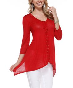 Another great find on #zulily! Red Lace-Up Sidetail Top by Belldini #zulilyfinds