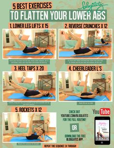 5 best exercises to flatten your lower abs. Full length workout video: http://www.youtube.com/watch?v=Z7u_sdYNS_k&list=UUIJwWYOfsCfz6Pjx...