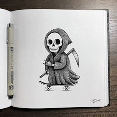 Creepy Sketches, Weird Drawings, Skeleton Drawings, Dark Drawings, Skeleton Art, Cool Art Drawings, Pencil Art Drawings, Art Drawings Sketches, Alfabeto Braille