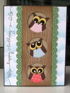 by D Barry.... 3 owls in a tree... love the placement of the eyeballs! ... (change sentiment)
