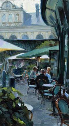 """""""Stockholm. Outside Berns salonger"""",oil on canvas, painter Vladimir Volegov"""