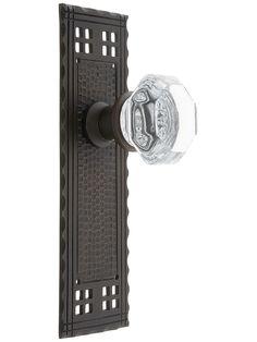 Old Style Door Hardware. Arts & Crafts Passage Door Set With Octagonal Glass Door Knobs.