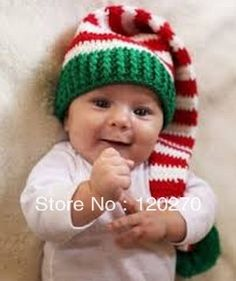 Free Shipping Crochet Striped Christmas Hat Newborn Toddlers Infants Baby Boys Girls Santa Cap Children's Winter Animal Beanies