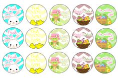 Easter Bunny and Chick Bottle Cap Images