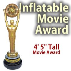 "Inflatable Movie Award Prop     This inflatable movie award prop is great for a hollywood themed party or event.     The dimensions for this inflatable prop are approximately 60"" tall by 18"" wide."