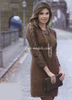 Платье женское вязаное спицами