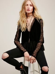 Lolita Top | Inspired by decades past, this long sleeve velvet top features a femme peplum shape and pretty lace accents throughout. Deep V-neckline.