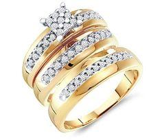 Diamond Engagement Rings Set Wedding Bands Yellow Gold Men Lady    mens wedding rings