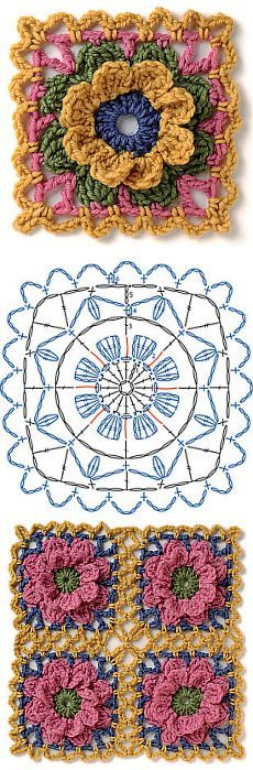 Transcendent Crochet a Solid Granny Square Ideas. Inconceivable Crochet a Solid Granny Square Ideas. Motifs Granny Square, Granny Square Crochet Pattern, Crochet Flower Patterns, Crochet Diagram, Crochet Stitches Patterns, Crochet Chart, Crochet Squares, Knit Or Crochet, Crochet Granny