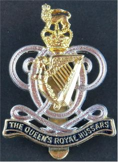 Queen's Royal Hussars (Queen's Own And Royal Irish) army cap badge Military Cap, Military Insignia, Military Uniforms, Queen Elizabeth Crown, Great Britan, British Army Uniform, Army Hat, Tudor History, Flags
